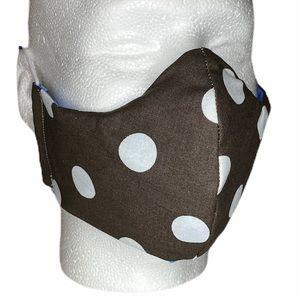 Brown Polka Dots 100% Cotton 3 Layers Face Mask